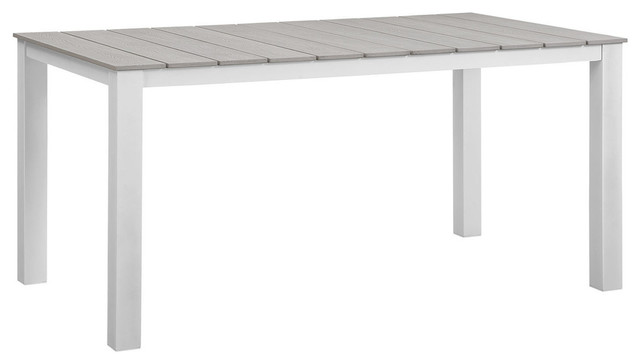 Modern Urban Contemporary Outdoor Patio Dining Table, White Light Gray Steel.
