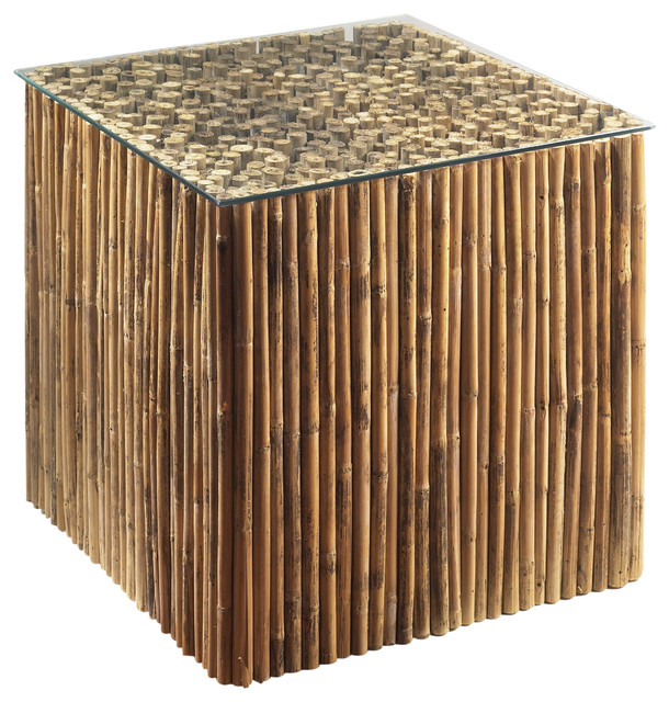 Bamboo Stick Bunching Table Base With Gl