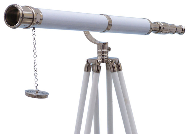 Floor Standing Galileo Telescope, Chrome/White Leather, 65""
