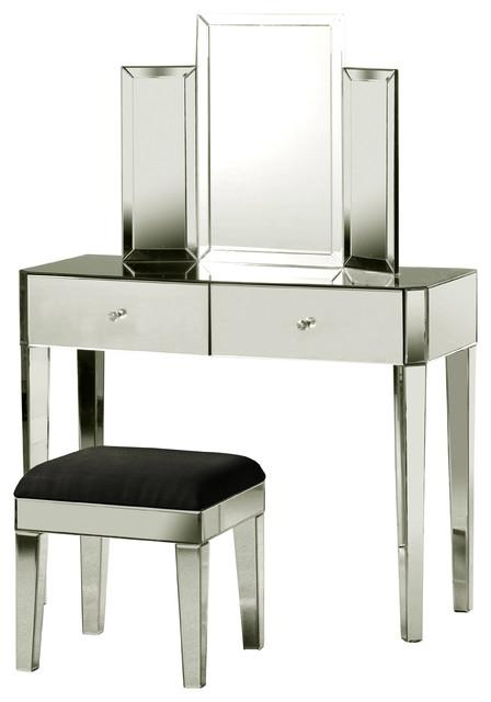 2 Piece Tri Fold Vanity Mirror Set Polished Steel Finish Black Cushion