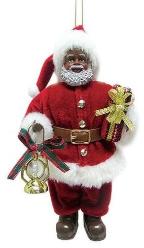 African American Santa Claus Christmas Ornament, Black xmas Decor