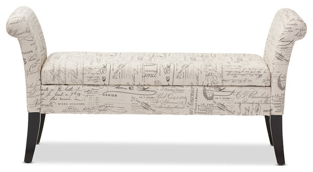 Avignon Script-Patterned French Laundry Fabric Storage Ottoman Bench, Beige.