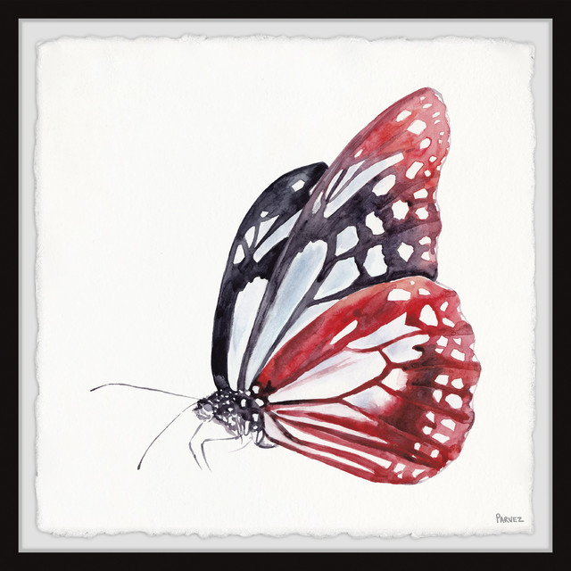 """Big Red Butterfly"" Framed Painting Print, 18""x18"""