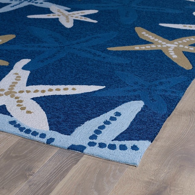 "Indoor/outdoor Matira Area Rug, Rectangle, Blue, 7&x27;6""x9&x27;."