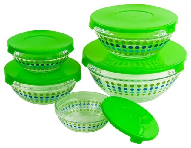 10-Piece Healthy Glass Food Storage Containers Bowls Set With Green Lids.