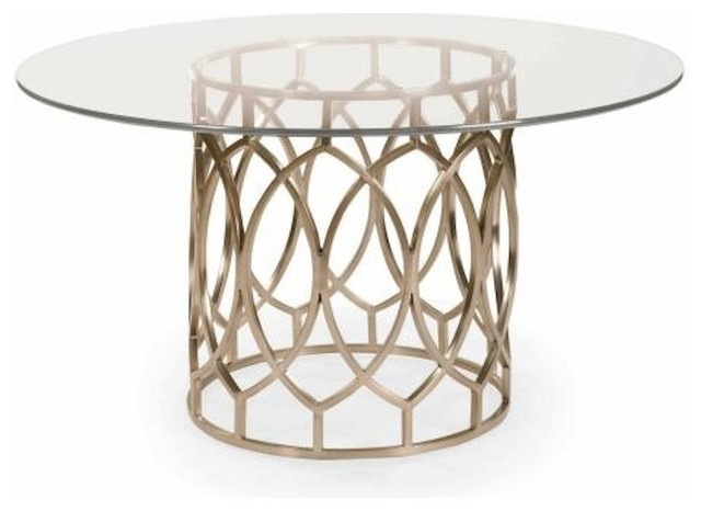 Shelby Gold Metal And Glass Round Dining Table