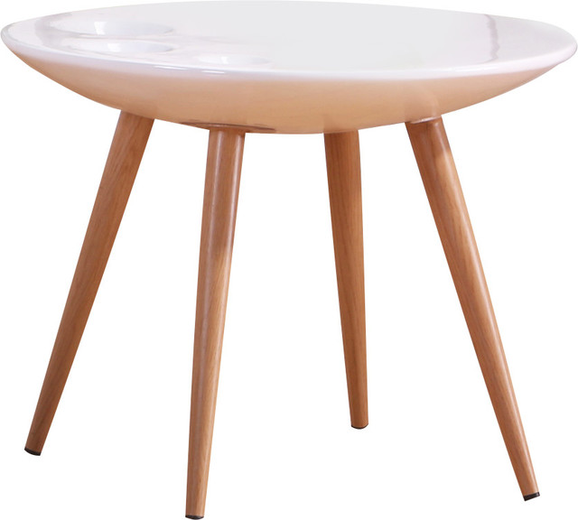 Round End Table High Gloss White