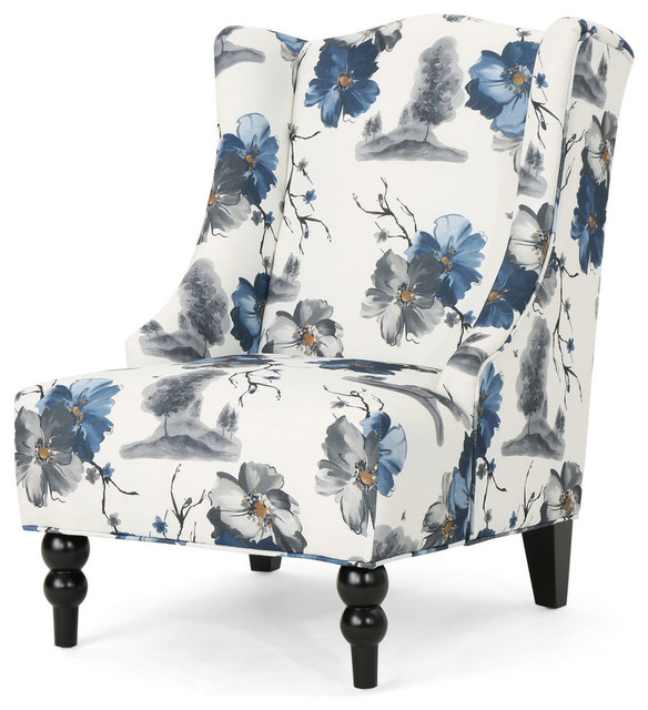 Terrific Gdf Studio Alonso High Back Fabric Club Chair Print Dark Brown Dailytribune Chair Design For Home Dailytribuneorg