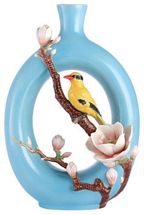 Franz Porcelain Collection Eminent Elegance Oriole Bird Vase