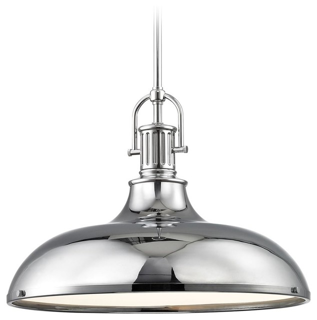 "Industrial Large Pendant Light With Metal Shade 18.38"", Chrome."