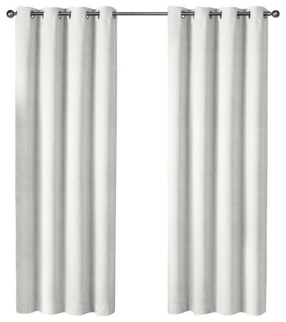 """Velvet Grommet Top Curtains, Set Of 2, Winter White, 54""""x96""""."""