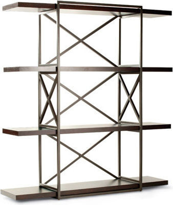 Snowmass 4-Shelf Bookcase In Espresso Finish With Metal Supports, Espresso.