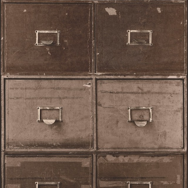 Shop Houzz | Walls Republic Contemporary Vintage Style, Industrial Faux File Cabinet Wallpaper ...