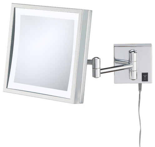 Single Sided Led Square Wall Mirror Plug-In, Polished Nickel.