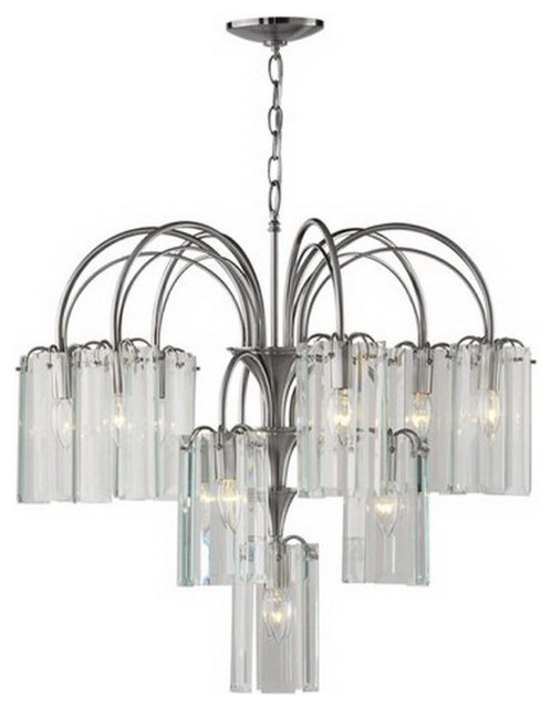satin nickel and clear beveled glass 22light chandelier - Forecast Lighting