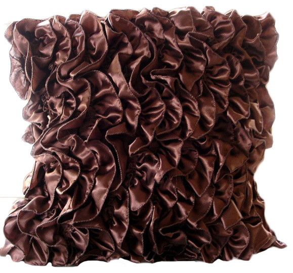 Vintage Style Ruffles Brown Satin Throw Pillow Covers Vintage Simple Ruffle Decorative Pillows