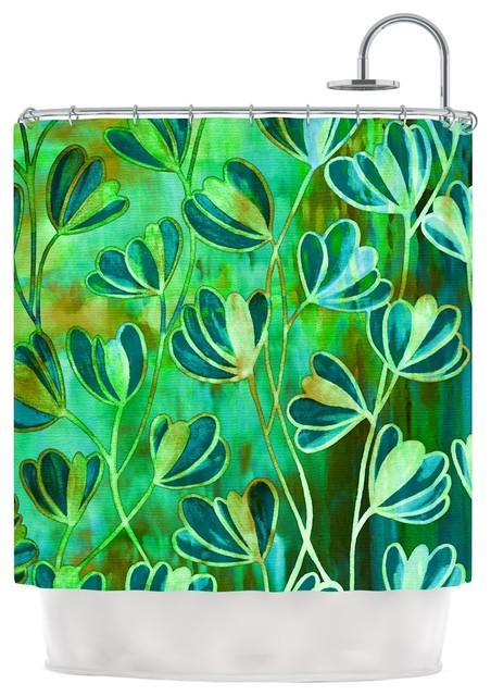 Ebi Emporium Effloresence Blue Green Teal Green Shower Curtain