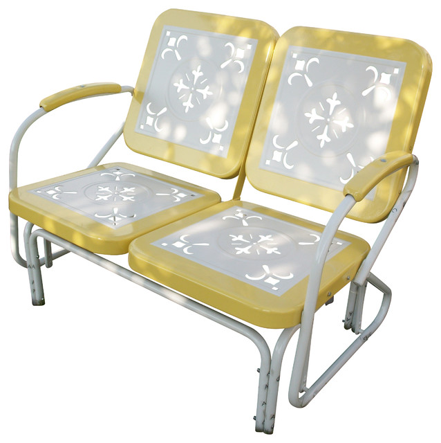 Astonishing Metal Retro Glider Yellow Onthecornerstone Fun Painted Chair Ideas Images Onthecornerstoneorg