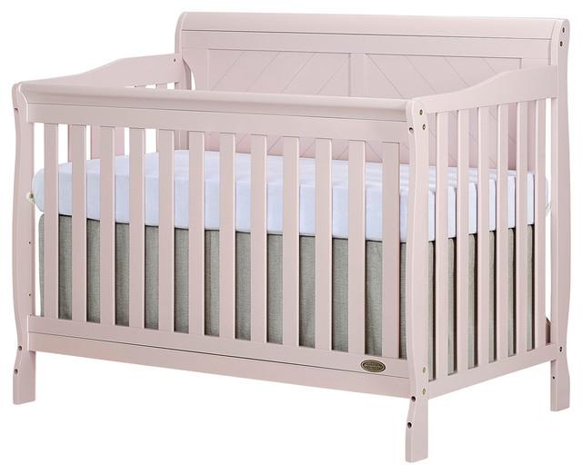 Dream On Me Ashton Full Panel Convertible 5-in-1 Crib, Blush Pink