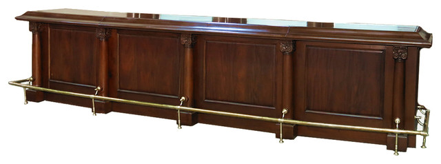 Mahogany Traditional English Pub Bar Front With Brass Rails, 16 ...