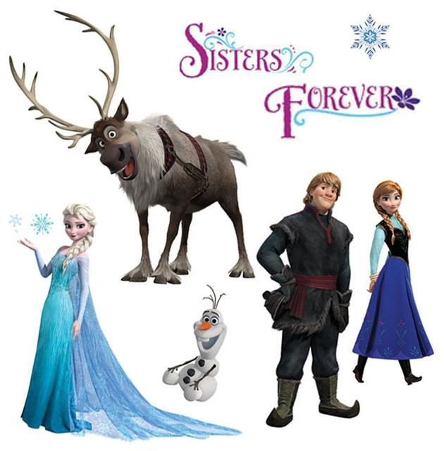 Disney Frozen Wall Stickers Snow Glitter Decals Contemporary Kids Wall Decor Part 32