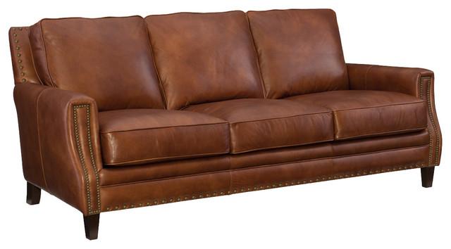 Hooker Furniture SS 087 Old English Saddle Exton Stationary Sofa  Transitional Sofas