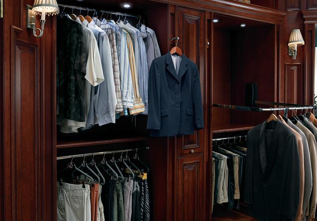 Elegant Master Closet With Valet Bar Traditional Closet