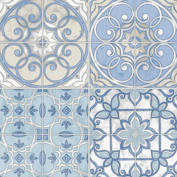 Portugese Tiles Blue, Cream, Ke29950, Double-Roll.