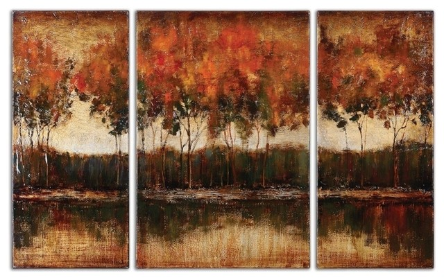 Set Of 3 Wall Art Featured In Hand Painted Landscapes Canvases Stretched Bars.
