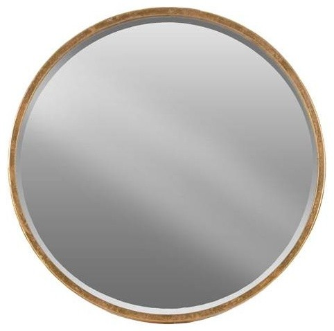 Round Wall Mirror Antique Gold Tarnished Finish