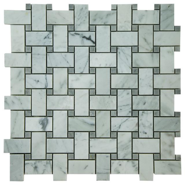 X Bianco Carrara Basketweave Mosaic With Bardiglio Dots Honed - Carrara basketweave tile gray dot