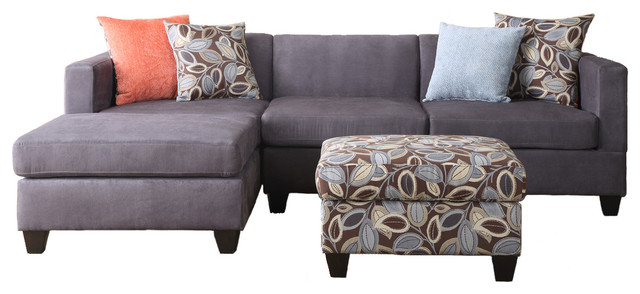 Soft microfiber sectional sofa set charcoal 2 piece sofa - Microfiber living room furniture sets ...