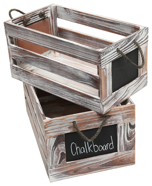 Nice Rustic Wooden Storage Crate With Chalkboard Label, Set Of 2 Farmhouse  Storage Bins