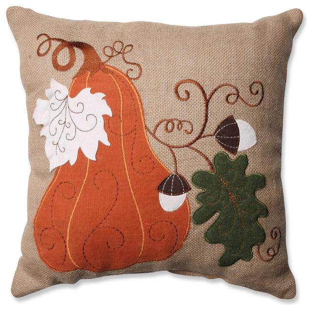 Traditional Decor Pillows : Pillow Perfect Inc Harvest Squash Burlap Throw Pillow - Decorative Pillows Houzz