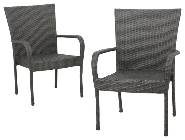 Sultana Outdoor Gray Wicker Stackable Club Chairs, Set Of 2  Contemporary Patio Furniture