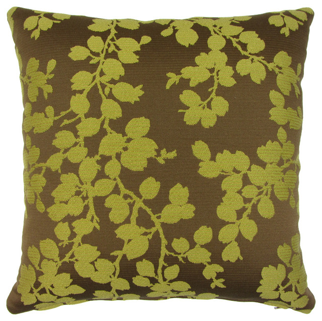 YellowGreen Vines On BronzeBrown Decorative 40 Square Throw Inspiration Green Brown Decorative Pillows