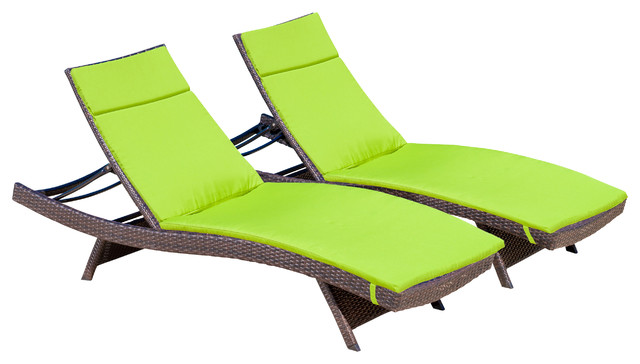 Lakeport Outdoor Adjustable Chaise Lounge Chairs With Colored Cushions Set Of 2