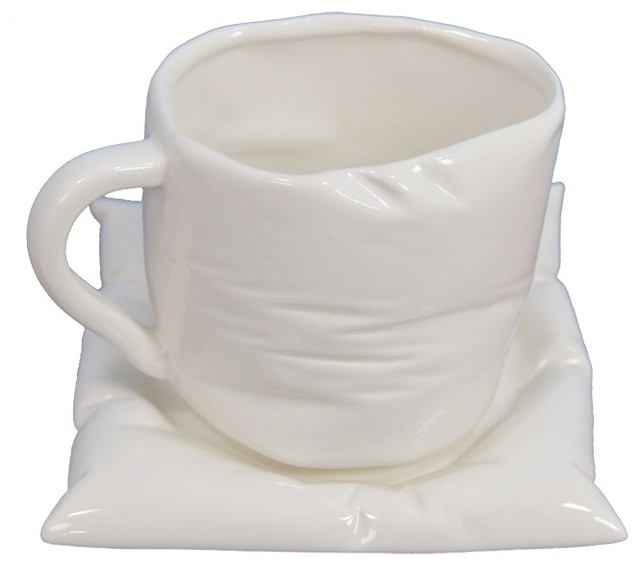 """5""""x5.5"""" Coffee Cup With Airbag Plate, Set of 2"""