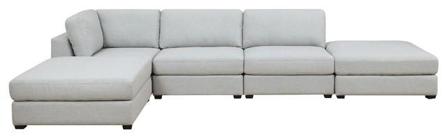 Reed 5-Piece Modular Reconfigurable Deep Seating Sofa Sectional.
