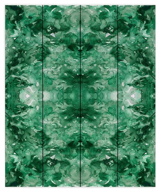 Tie Dye Helix Green Wood Plank Wall Art, 16