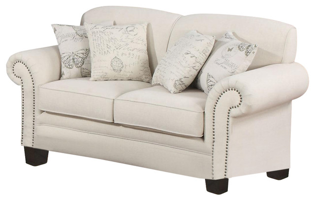 Norah Traditional Antique Inspired Detail Loveseat With 4 Accent Pillows.