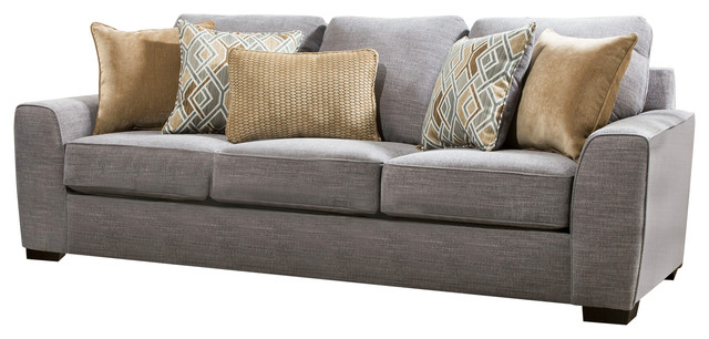 Simmons Upholstery Pompeii Silver Sofa.