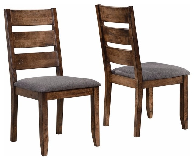 Wooden Ladder Back Dining Chair Gray Brown Set Of 2 Transitional Dining Chairs By Buydbest