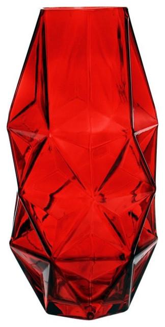 Geometric Ruby Faceted Gem Glass Vase, Argyle, Set of 6