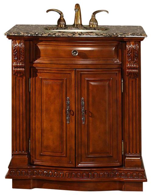 """Buford Wooden Vanity With Granite Top, Brown, 33""""."""