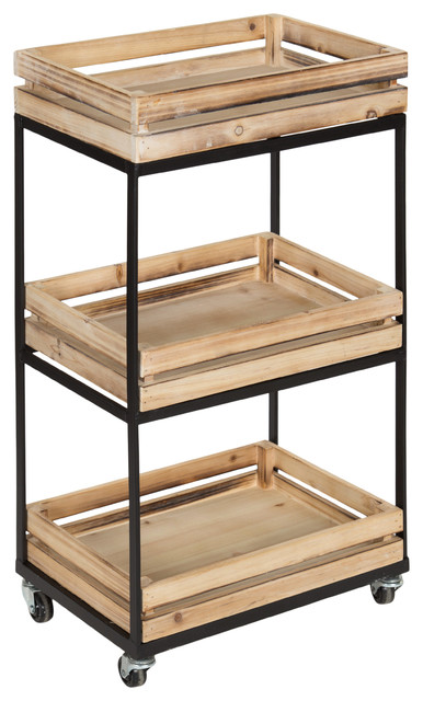 Usman 3 Tier Storage Cart With Wheels, Natural Wood And Black Metal Frame