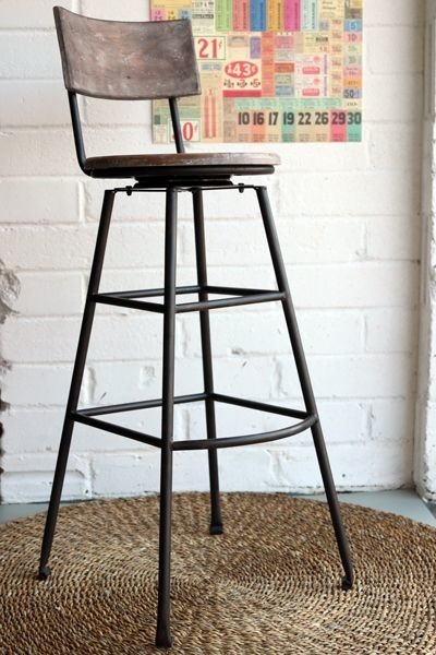 Aged Wood Extra Tall Iron Bar Stool View In Your Room