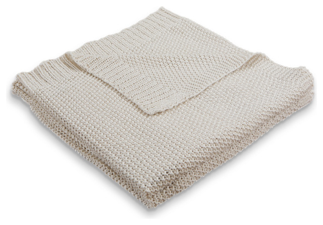 "Sweater Weather Natural Sparkle Knitted Throw Blanket, 50""60""."