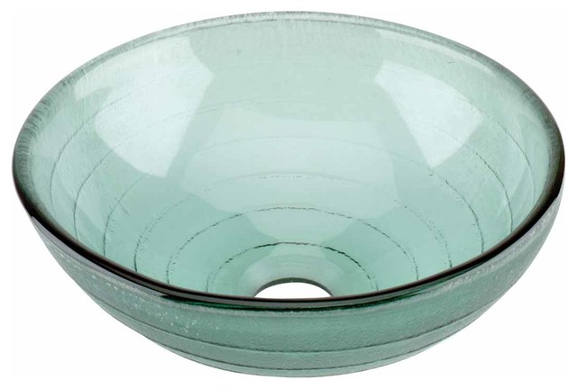 12896 Vessel Sink Mini Circle Frosted Blue Glass Transitional