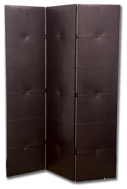 70 Tall 3 Panel Screen Room Divider Pu Leather Dark Espresso